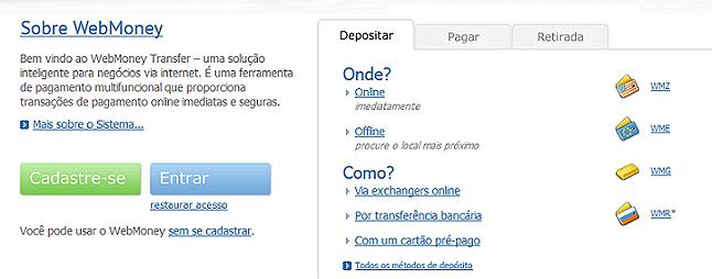Opção webmoney pagamento eletrônico